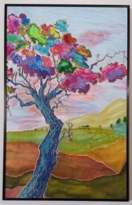 Daphne's Tree-2013- Acrylic Monoprint on silk 36x23