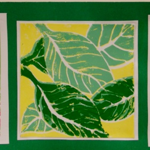 Reduction Relief Cut Print by Karly K