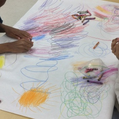 "Students work during our ""draw what you hear"" series"